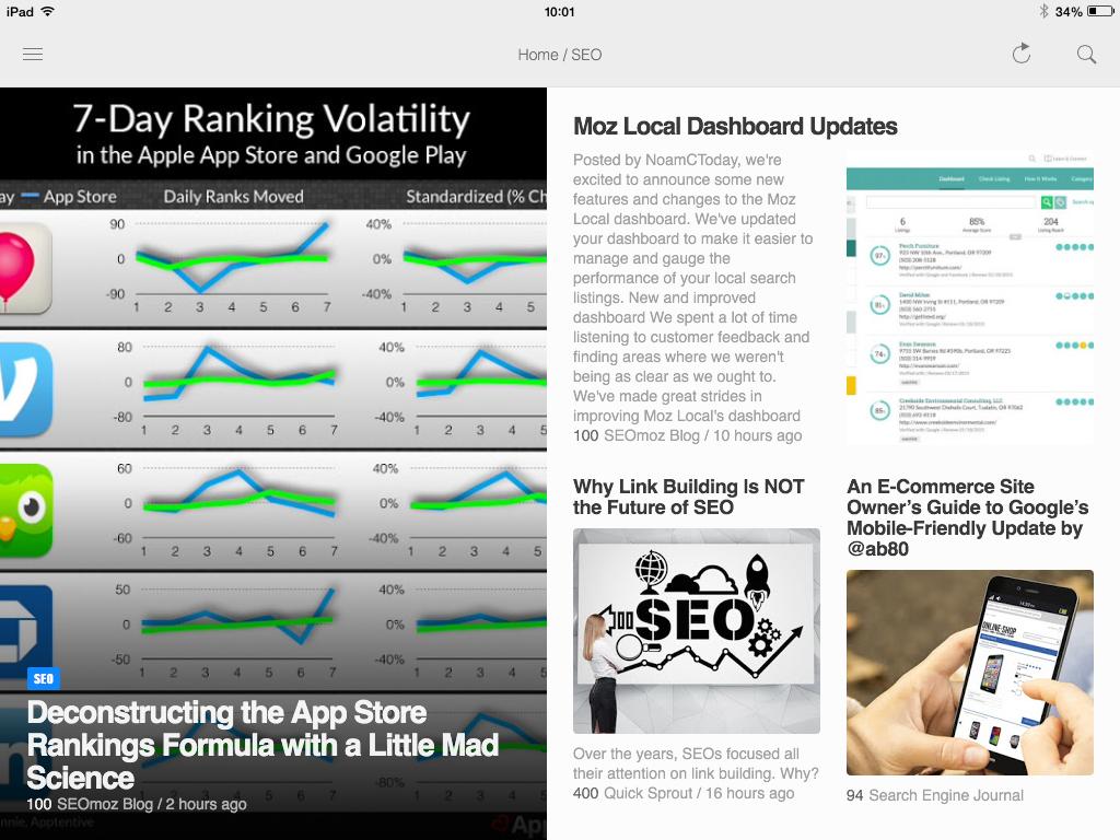 Unutrašnjost rubrike u verziji aplikacije za tablet
